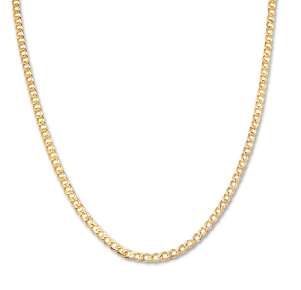 18 Karat Yellow Gold 3.5mm Cuban Link Curb Chain Necklace- 18K Yellow Gold- Made in Italy- 22''