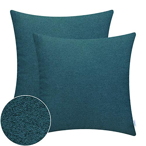 Calitime Pack Of 2 High Class Comfy Throw Pillow Covers Cases For Couch Sofa Bed Bedding Thick Two Tone Texture Both Sides 18 X 18 Inches Teal