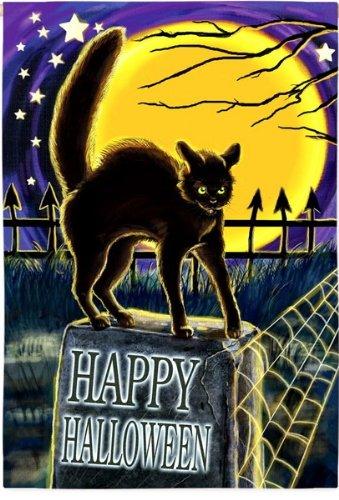 Black Cat on Grave Stone Happy Halloween Garden Flag