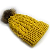 Yaheeda Women's Winter Ribbed Knit Faux Fur Pompoms Chunky Lined Beanie Hats (Yellow)