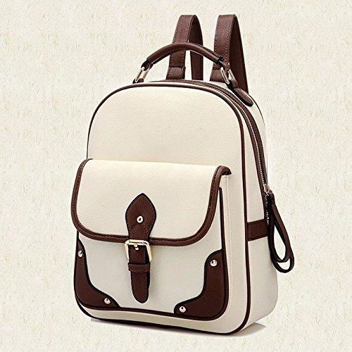 Women Leather Women's Pu Hrph Backpack Beige Patchwork Mochila New Travel Bag Backpacks School pCnxEqOw