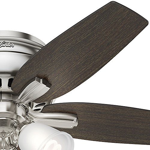 Hunter 51079 Hunter Newsome Low Profile with 3 Kit Ceiling Fan with Light, 42'', Brushed Nickel by Hunter Fan Company (Image #3)