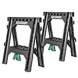 Hitachi 115445 Folding Sawhorses, Heavy Duty Stand, 4 Sawbucks, 1,200 lb Capacity, 2 Pack