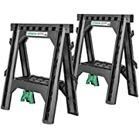 2-Pk. Hitachi 1,200 lb Folding Sawhorses Heavy Duty Stand