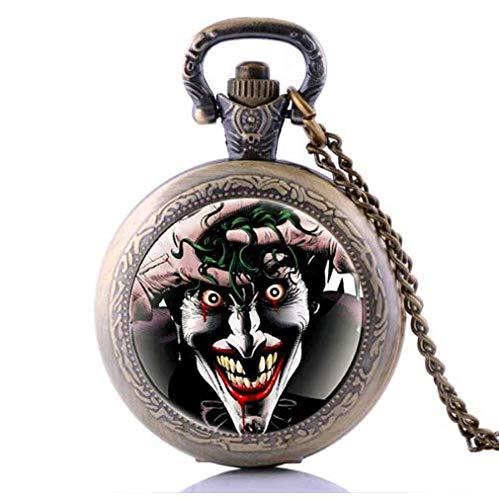 Antique Joker Pattern Pendant, Vintage Clown Pocket Watch Steampunk Necklace, Best Friends Gift]()