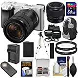 Sony Alpha A6300 4K Wi-Fi Digital Camera & 18-135mm Lens (Silver) With Lenses + 64GB Card + Battery + Charger + Backpack + Kit