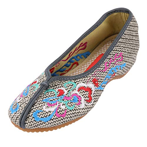 CINAK Embroidery Shoes for Women Comfort Slip-on Flats Casual Loafers Round Toe Slipper Red Ballet Flats Shoes(9 B(M) US/UK7/EU41/CN42/26CM,Gray)