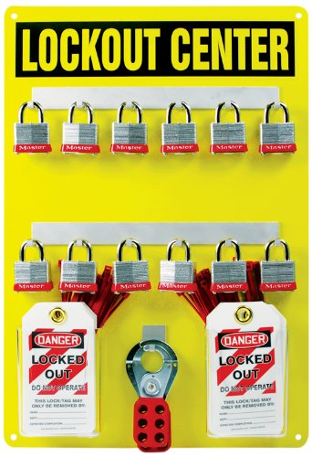 Accuform KST410 Lockout Center Board with Kit, 12-Padlock, 20'' Length x 14'' Width, Aluminum, Black on Yellow