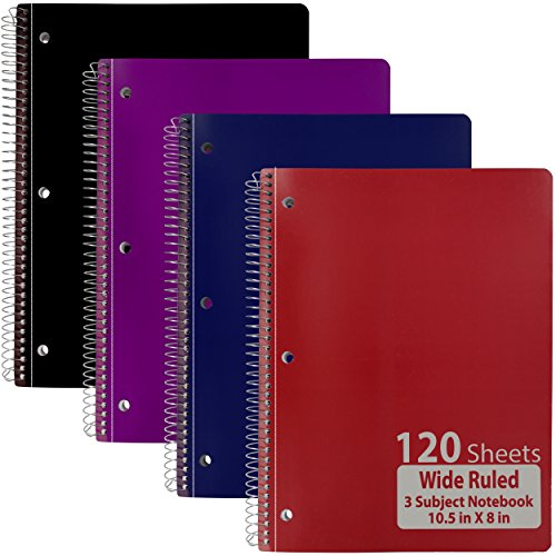 Emraw 3 Subject Notebook Spiral with 120 Sheets of Wide Ruled White Paper - Set Includes: Red, Black, Purple, & Blue Covers (4 Pack)