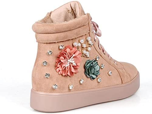 Mark and Maddux Fahrenheit Claire01 Rhinestone Womens Flower Lace up Sneakers in Pink