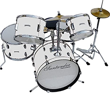 Santander batería de juguete grande completo set infantil, 8 piezas, color blanco: Amazon.es: Instrumentos musicales