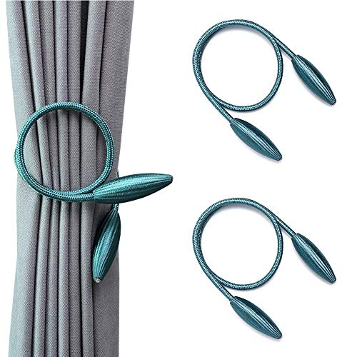 DEZENE 2 Pack Curtain Tiebacks,Random Modeling Drapery Tie Backs,Decorative Rope Holdbacks/Holder for Window Blackout and Sheer Panels,Teal (Decorative Holdback)