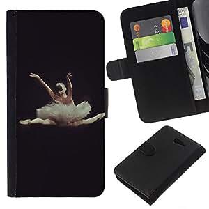 KLONGSHOP // Tirón de la caja Cartera de cuero con ranuras para tarjetas - Danza Ballet Dancer Negro Mujer - Sony Xperia M2 //