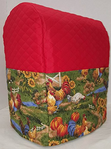 Penny's Needful Things Rooster Cover Compatible for Kitchenaid Stand Mixer (Red, 4.5,5,6qt Lift Bowl)