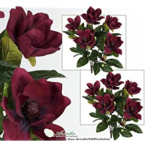2′ Magnolia Artificial Silk Flower Bushes (Burgundy) for Home, Garden and Decoration, with No Pot, , with No Pot, (Pack of 2)