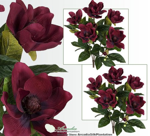 2' Magnolia Artificial Silk Flower Bushes (Burgundy) for Home, Garden and Decoration, with No Pot, , with No Pot, (Pack of 2) Burgundy Magnolia