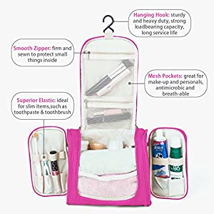 Hanging Toiletry Bag Travel Cosmetic Kit - Large Essentials Organizer - Sturdy Hook Makeup bag - Heavy Duty Waterproof for Men and Womens (Rose Pink)