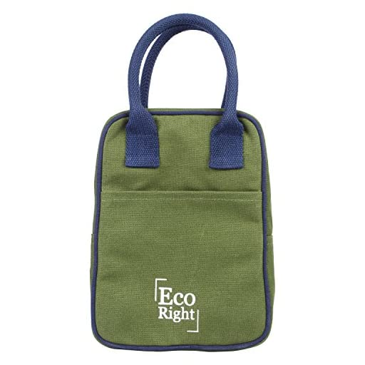 EcoRight Lunch Tote Bag Reusable Cotton Canvas EcoFriendly Insulated Cooler Washable Zipper for Men, Women, Adults (Dark Green) - 0706