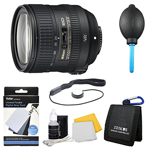 Nikon AF-S NIKKOR 24-85mm f/3.5-4.5G ED VR Lens (2204). Bundle Includes 3pc. Lens Cleaning Kit, Digital Grey Card Set, Dust Removal system, Memory Card Wallet, and More. by Beach Camera