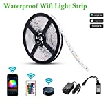 BeWit LED Strip Lights, Smart Tape Light 16.4ft 150 LEDs Lights, 24 Key IR Remote Controller, Support Android and iOS System, IFTTT, Google Assistant (12V)