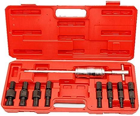Estrattore per cuscinetti 9 pezzi Set di estrattori per estrattori per cuscinetti interni con foro cieco con martello scorrevole e scatola di plastica per cuscinetti con foro da 8 a 32 mm