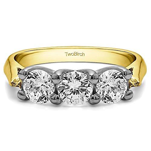 (14K Two Tone Gold White Sapphire .99 CT Three Stone Trellis Ring (Size 3 To 15 1/4 Size Interval))