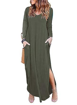 7b22a8b43b3 Jastore Damen Maxikleid lang Kleid Sommerkleid T-Shirt Damen Langarm lässig  Strandkleid Boho bodenlang Kleider Frauen Hauskleid Beachwear Nachthemd  Größe ...