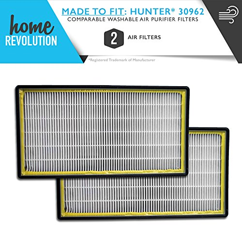 Hunter Part # 30962 for 30730, 30713 & 30730, Comparable Washable Air Purifier Filters. A Home Revolution Brand Quality Aftermarket Replacement 2PK
