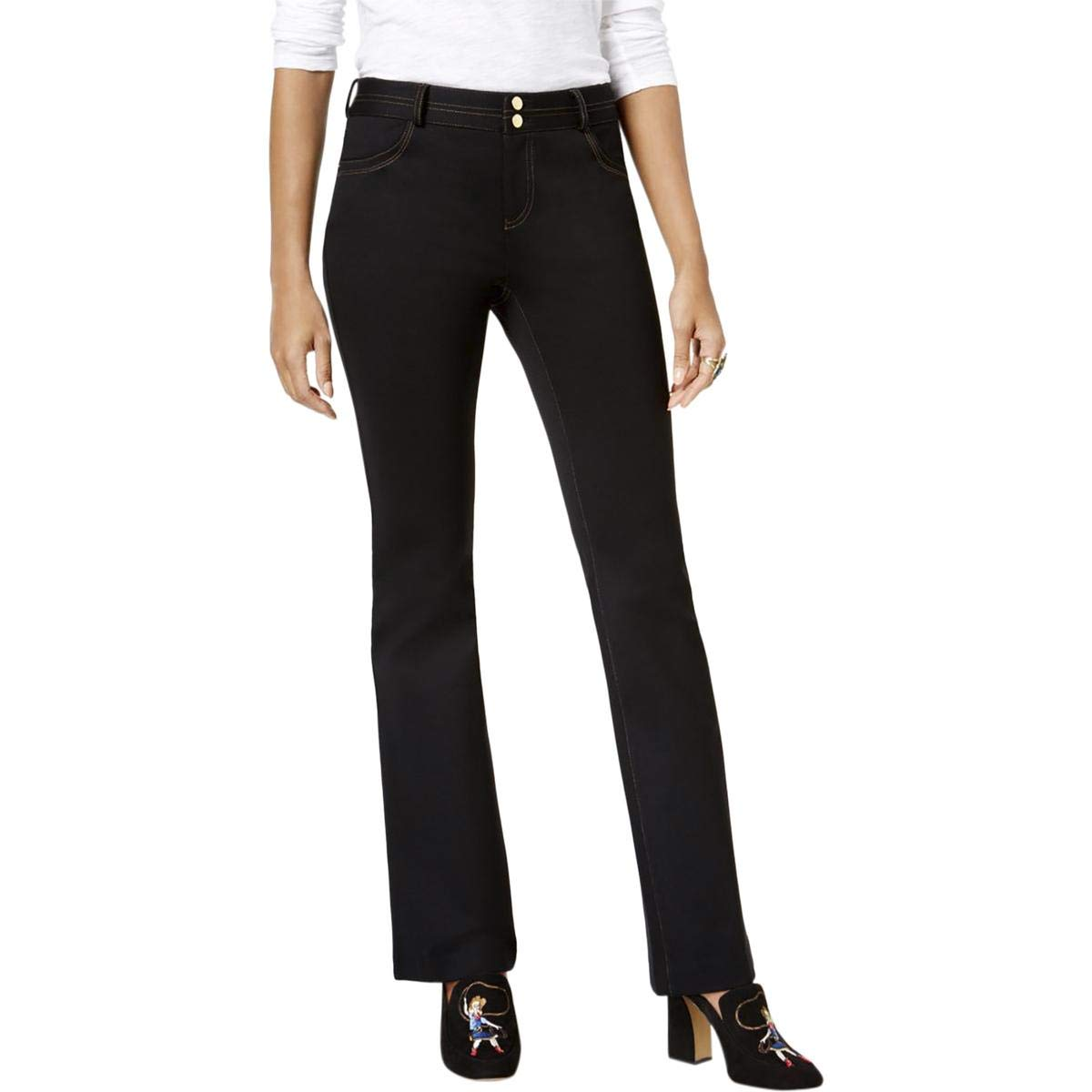 Deep Black INC Womens Ponte Boot Cut Jeans