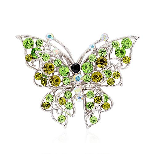 61 Style Women Retro Rhinestone Crystal Flower Wedding Bridal Corsage Brooch Pin (StyleID - #48_ Green Diamond Butterfly .)