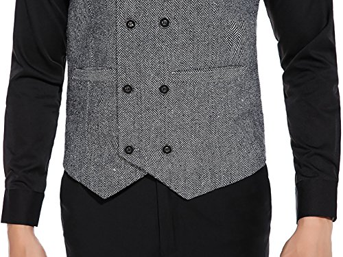 WULFUL Mens Slim Fit Double Breasted Tweed Waistcoat Vintage Gentleman British Suit Vest