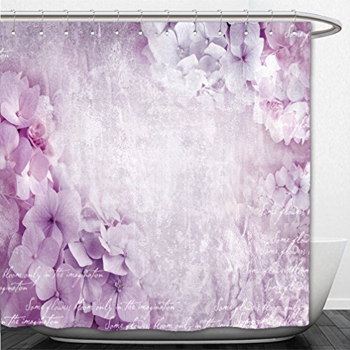 Interestlee Shower Curtain Floral postcard Can be used as greeting card invitation for wedding birthday and other holiday happening Hydrangea flowers Art floral grunge background Beautiful hydrangea