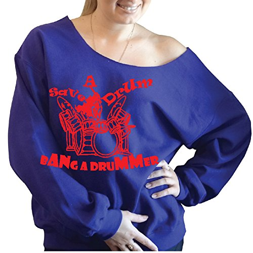 Save a drum bang a drummer Slouchy Off The Shoulder Sweatshirt