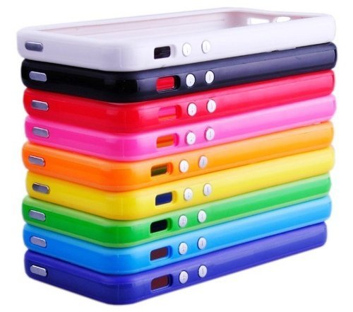 Huaxia Datacom Pack of 10 Color Combo 2Tone Colorful Premium Bumper Case W/ Metal Buttons for iPhone 5 5G 5th AT&T - 10 Piece - Case Combo Pack