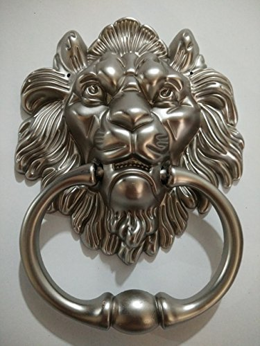Lion Door Knocker Lion Head Beautiful Lion Mouth Accessories Gate Antique Silver (Lion Door Knocker)