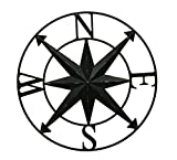Zeckos Distressed Metal Indoor/Outdoor Compass Rose Wall Sculpture 28 Inch Metal Wall Sculptures Black For Sale