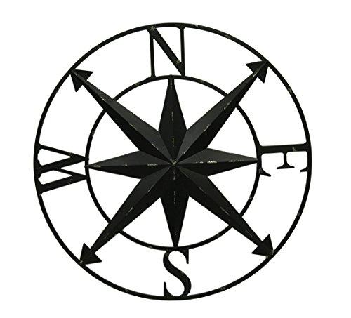 Zeckos Distressed Metal Indoor/Outdoor Compass Rose Wall Sculpture 28 Inch
