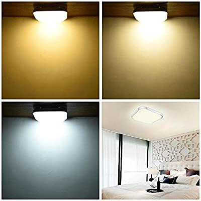 Yescom Modern Dimmable LED Ceiling Light 48/36/24W Rectangle/Square/Round w/Flush Mount Remote Control (pack of 1 or 2)