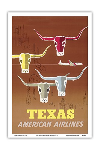 Pacifica Island Art Texas - Longhorns - American Airlines - Vintage Airline Travel Poster by Joseph Charles Parker c.1953 - Master Art Print - 12in x 18in