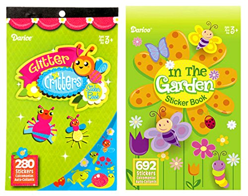 LightShine Products 2 Garden Outdoor Theme Sticker Books For Kids With A Total of 972 Assorted Stickers