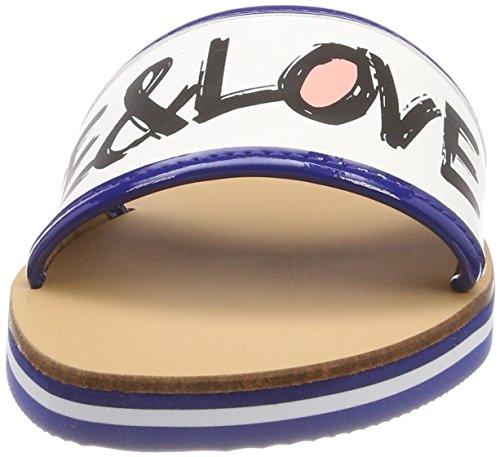 Love Moschino Sabotd.54418/20 Nap.Bian/Vern.Bltte, Ciabatte Donna Multicolore (White-bluette)