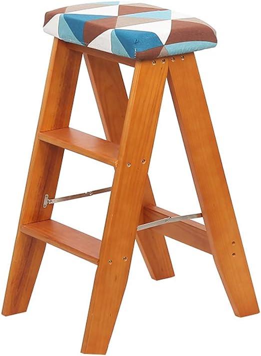 Taburete con escalones Mini taburete con escalera de madera maciza Taburete plegable multifunción Pasos de cocina Biblioteca Oficina 3 escalones (patrones geométricos) Cojín extraíble (Color: natural): Amazon.es: Hogar