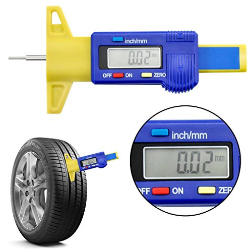 OLLGEN Mini Handheld LCD Digital Tire Tread Depth Gauge,Digital Tyre Gauge Meter Measurer,LCD Display Tread Checker Tire Tester Car Caliper 0-25.4mm Zero Setting Metric/Inch System Interchange (Handheld Checkers)