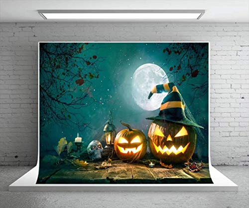 Kate 7X5ft Big Moon Photography Backdrops Halloween Photo Background Wood Floor with Pumpkin Glitter Sky Photo Props -