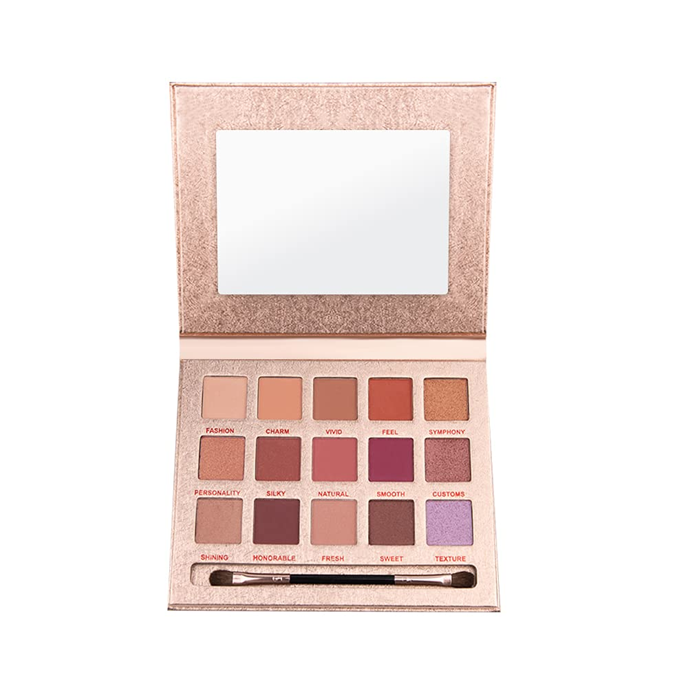 Highly pigmented eye shadow palette makeup, matte + glitter + pearlescent 15-color natural nude makeup, suitable for beginners, long-lasting waterproof and non-glare vegetarian