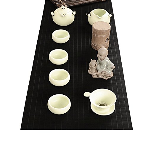 YOY Tea Ceremony - Kung Fu Tea Set Mat Natural Bamboo Tablemat Slat Handmade Bamboo Sticks Decor Placemat Tea Table Runner 12 By 47-Inch,Black ()