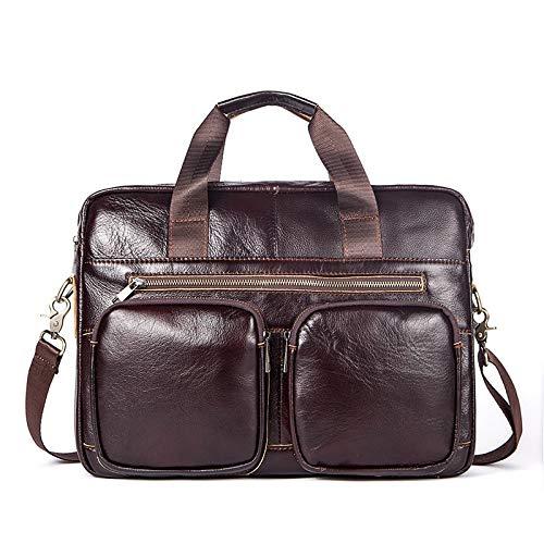 Color : Dark Coffee WYang Mens Genuine Leather Briefcase Business Leisure Cross Section Handbag Laptop Bag