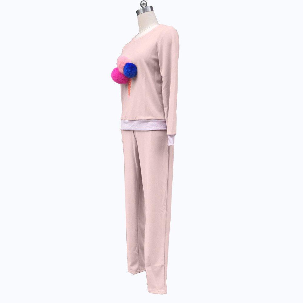 Zalanala Women Long Sleeve Sweatshirt Plush Ball Blouse Shirt Long Pants Outfit