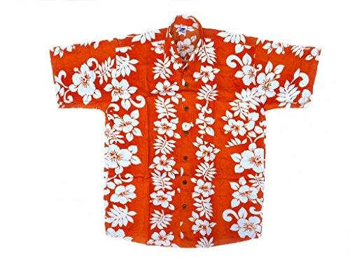Hawaiihemd Hawai Freizeit Hemd Shirt Viskose orange Blumenreihen weiß