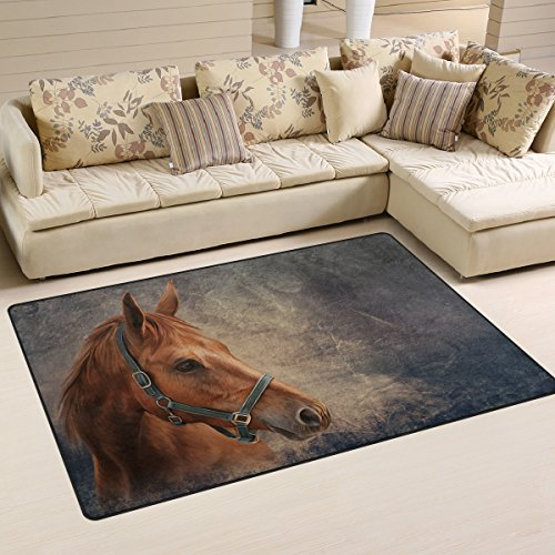 Yochoice Non-slip Area Rugs Home Decor, Vintage Retro Red Horse Portrait Oil Painting Floor Mat Living Room Bedroom Carpets Doormats 31 x 20 inches